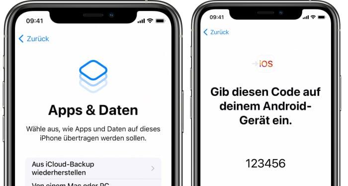 iPhone einrichten von Android - Apps & Daten wählen, Code bestätigen