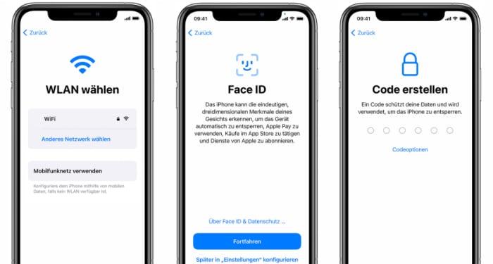 iPhone einrichten - WLAN, Face ID, Code