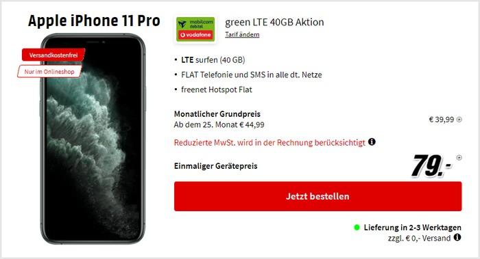 iPhone 11 Pro + mobilcom-debitel green LTE 40 GB (Vodafone-Netz) bei MediaMarkt