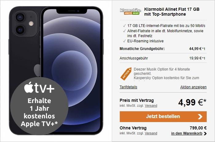 Apple iPhone 12 Mini mit klarmobil Allnet-Flat und 17 GB LTE im Vodafone-Netz