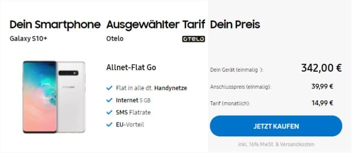 Samsung Galaxy S10 Plus (1 TB) mit otelo Allnet Flat Go im Samsung Online-Shop - 14,99 € Grundgebühr