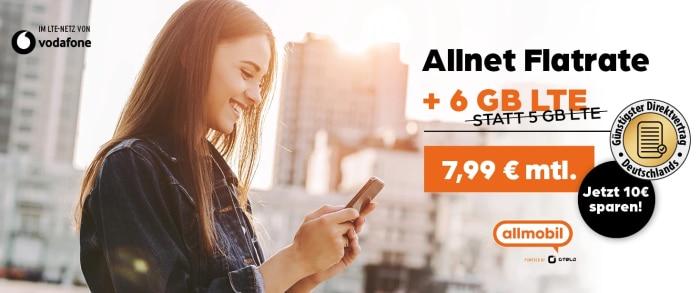 Allmobil Allnet Flat mit 6 GB LTE Vodafone Netz bei Preisboerse24