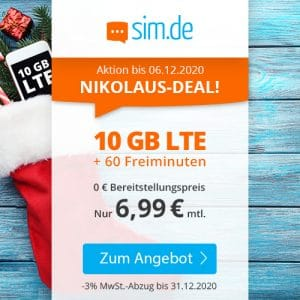 sim.de LTE 10 GB Aktion Dezember 2020 Thumbnail