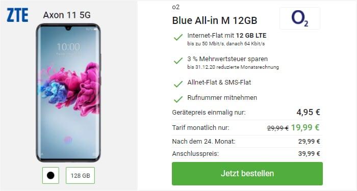 ZTE Axon 11 5G mit green LTE 12 GB im Telefonica-Netz bei DeinHandy