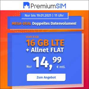 PremiumSIM 16 GB Aktion Januar 2020