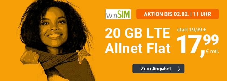 winSIM 20 GB LTE Ende Januar 2020