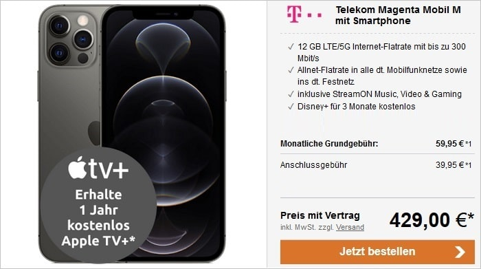 Apple iPhone 12 Pro 5G 128 GB Graphit mit Telekom Magenta Mobil M bei LogiTel