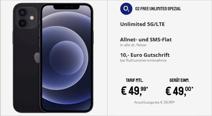 Apple iPhone 12 mit o2 Free Unlimited Spezial 5G bei Sparhandy