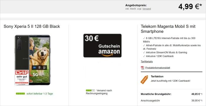 Telekom Magenta Mobil S mit Sony Xperia 5 II und 30 Amazon Gutschein