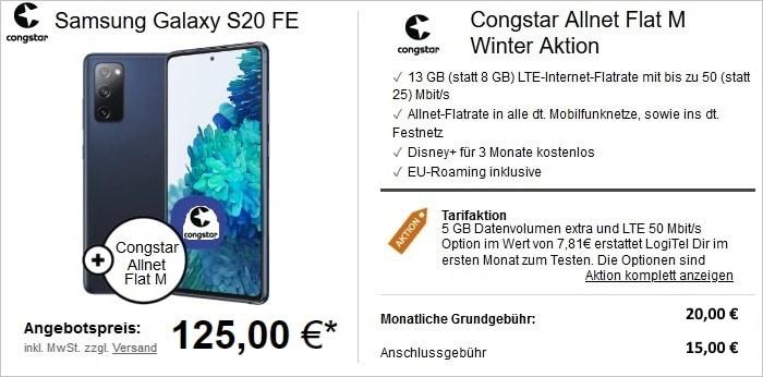 Galaxy S20 FE zum congstar Allnet Flat M bei LogiTel