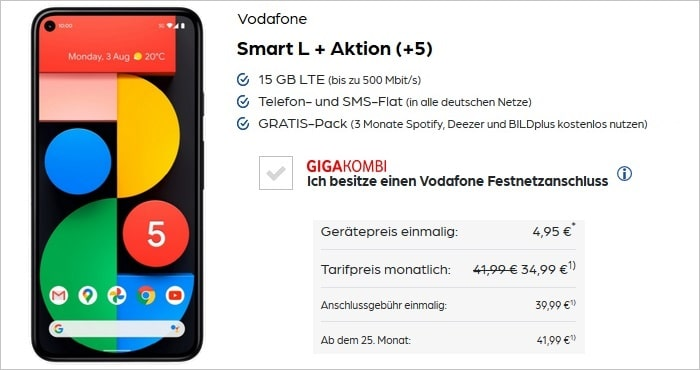 Google Pixel 5 mit Vodafone Smart L Plus bei Preisboerse24