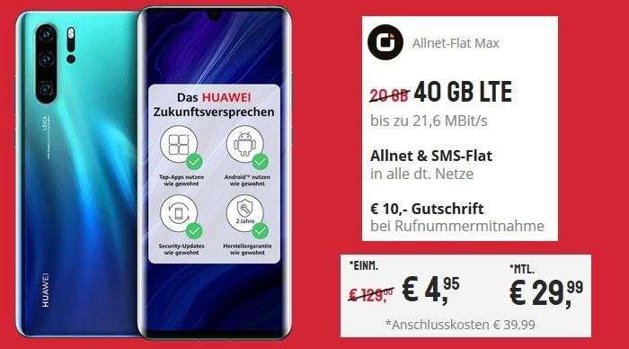 Huawei P30 Pro New Edition mit otelo Allnet-Flat Max 40 GB Aktion bei Sparhandy