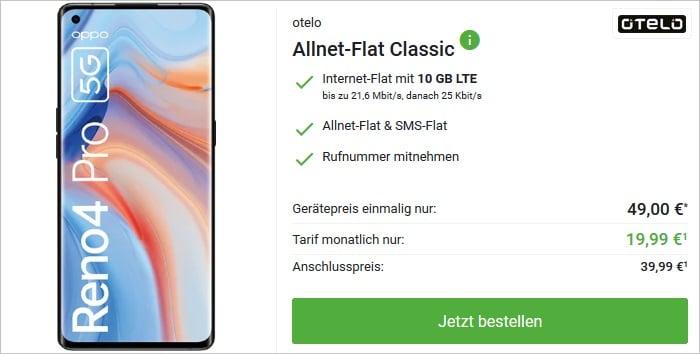 Oppo Reno 4 Pro 5G mit otelo Allnet Flat Classic bei DeinHandy