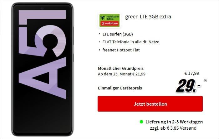 Samsung Galaxy A51 mit green LTE 3 GB im Vodafone-Netz bei MediaMarkt