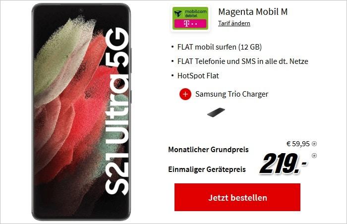 Samsung Galaxy S21 Ultra 5G mit Zugaben zum md Magenta Mobil im Telekom-Netz bei MediaMarkt