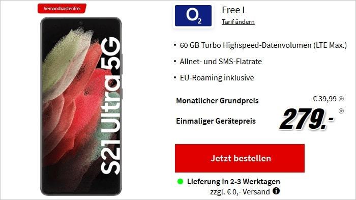 Samsung Galaxy S21 Ultra 5G mit o2 Free L bei MediaMarkt