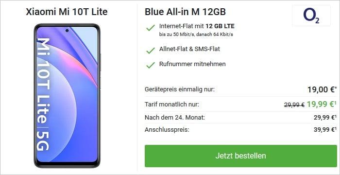 Xiaomi Mi 10T Lite mit o2 Blue All-in M 12 GB bei DeinHandy