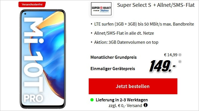 Xiaomi Mi 10T Pro 5G mit Super Select S bei MediaMarkt