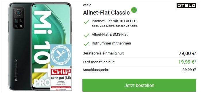 Xiaomi Mi 10T Pro mit otelo Allnet-Flat Classic bei DeinHandy