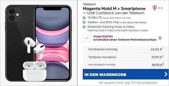 iPhone 11 + Apple AirPods Pro + 120 € Cashback + Telekom MagentaMobil M bei Preisboerse24
