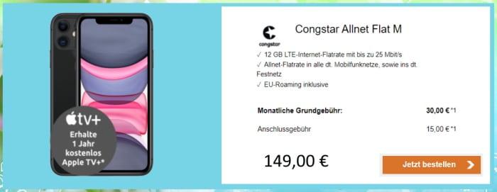 Apple iPhone 11 + congstar Allnet-Flat M im Telekom-Netz mit 12 GB LTE und 30 € Grundgebühr