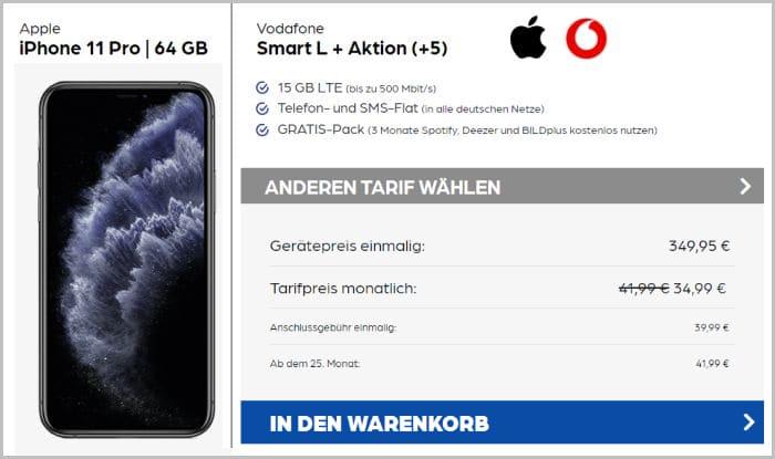 iPhone 11 Pro 64 GB mit Vodafone Smart L Plus bei Preisboerse24 Aktion