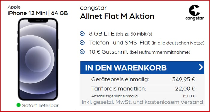iPhone 12 mini mit congstar Allnet Flat M bei Preisboerse24