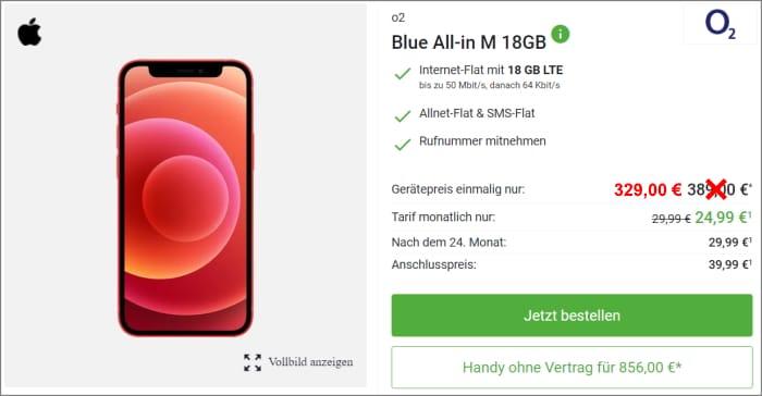 iPhone 12 mini mit o2 Blue All-in M bei DeinHandy