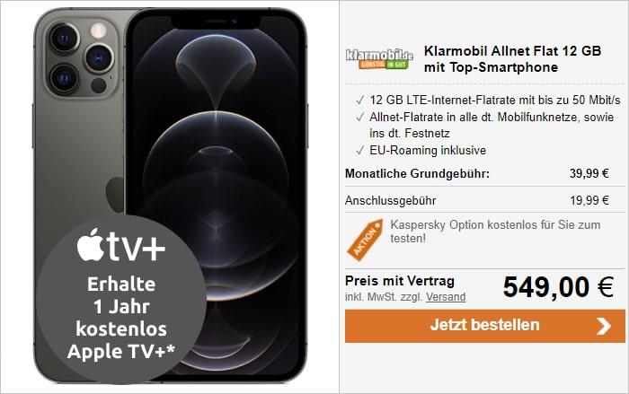 iPhone 12 Pro Max mit klarmobil Allnet Flat 12 GB LTE im Vodafone-Netz bei LogiTel