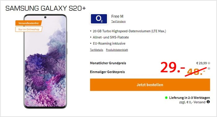 Samsung Galaxy S20 Plus + o2 Free M bei Saturn