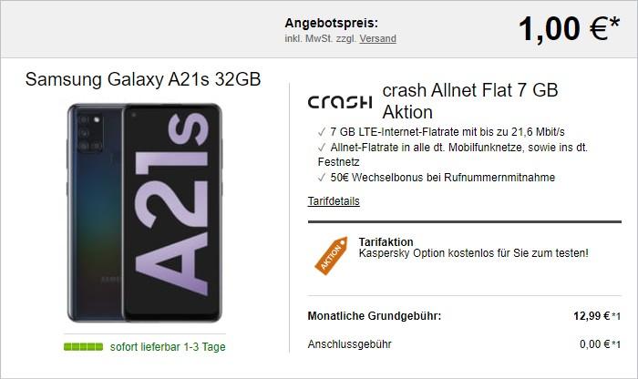 Samsung Galaxy A21s mit crash Allnet-Flat 7 GB bei LogiTel