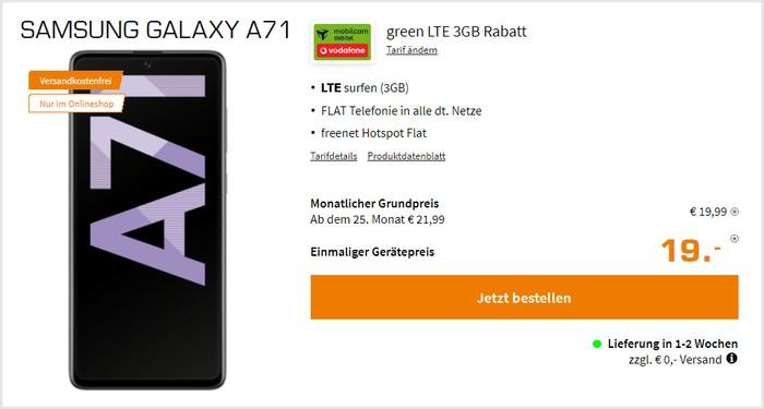 Samsung Galaxy A71 mit md green LTE 3 GB im Vodafone-Netz bei Saturn