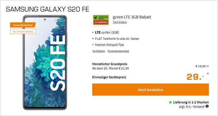 Samsung Galaxy S20 FE mit md green LTE 3 GB im Vodafone-Netz bei Saturn