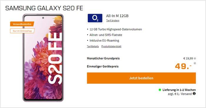 Samsung Galaxy S20 FE mit o2 All-In M 12 GB bei Saturn
