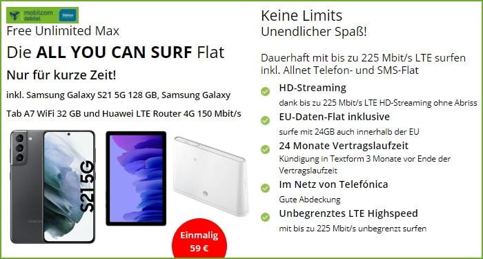 Samsung Galaxy S21 inkl. Zugaben mit mobilcom-debitel Free Unlimited Max bei modeo