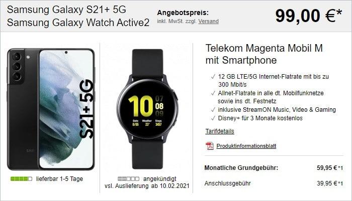 Samsung Galaxy S21 Plus + Samsung Galaxy Watch Active2 + Telekom MagentaMobil M bei LogiTel