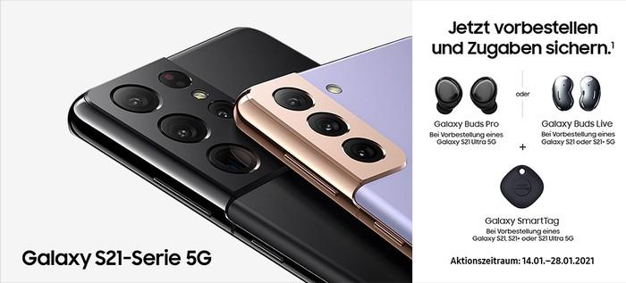 Vorbesteller-Aktion von Samsung für Galaxy S21, Galaxy S21 Plus und Galaxy S21 Ultra