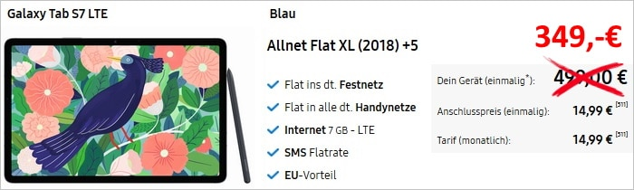 Samsung Galaxy Tab S7 LTE mit Blau Allnet XL bei Samsung