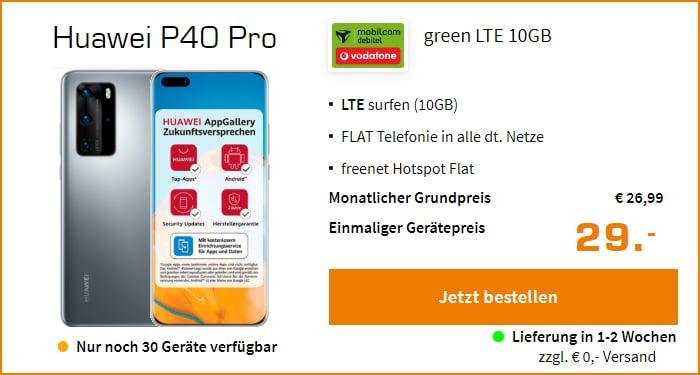 Huawei P40 Pro mit green LTE Tarif im Vodafone-Netz bei Saturn
