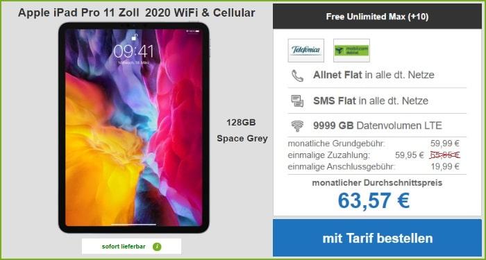 iPad Pro 11 2020 mit md Telefonica Free Unlimited Max bei modeo