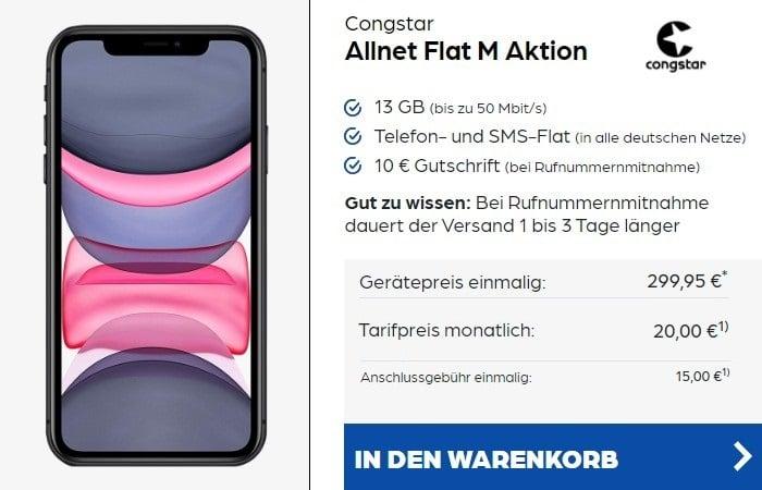 iPhone 11 + congstar Allnet Flat M bei Preisboerse24 20