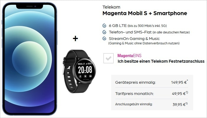 iPhone 12 Mini mit Xplora Activity Band zum Telekom MagentaMobil S bei Preisboerse24
