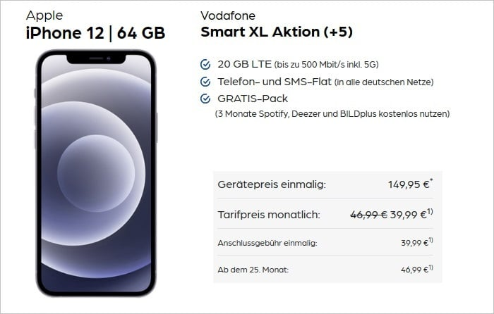 iPhone 12 mit Vodafone Smart XL bei Preisboerse24