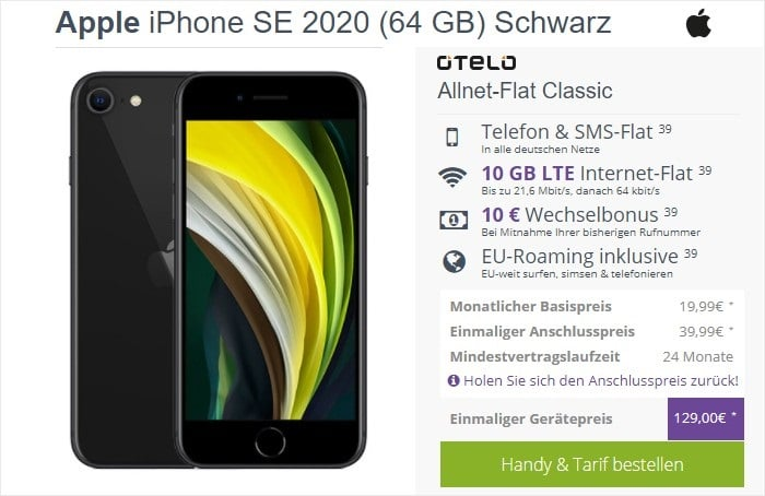 iPhone SE (2020) + otelo Allnet Flat Classic bei FLYmobile