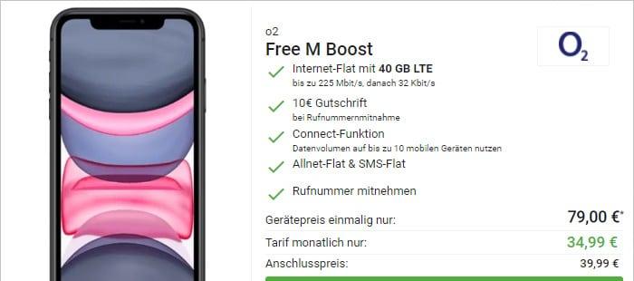 Apple iPhone 11 mit o2 Free M Boost bei DeinHandy
