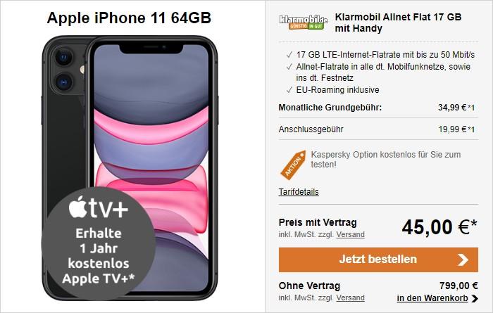 iPhone 11 + klarmobil Allnet Flat 17 GB (Vodafone-Netz) bei LogiTel