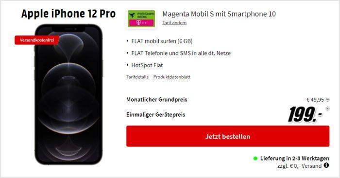 iPhone 12 Pro + mobilcom-debitel Magenta Mobil S (Telekom-Netz) bei MediaMarkt