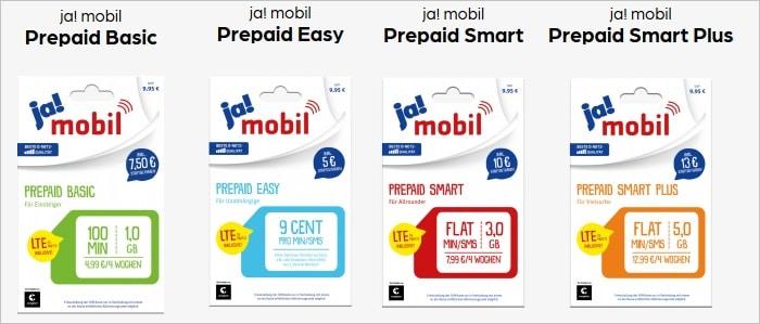 ja mobil Prepaid Tarife bei Preisboerse24