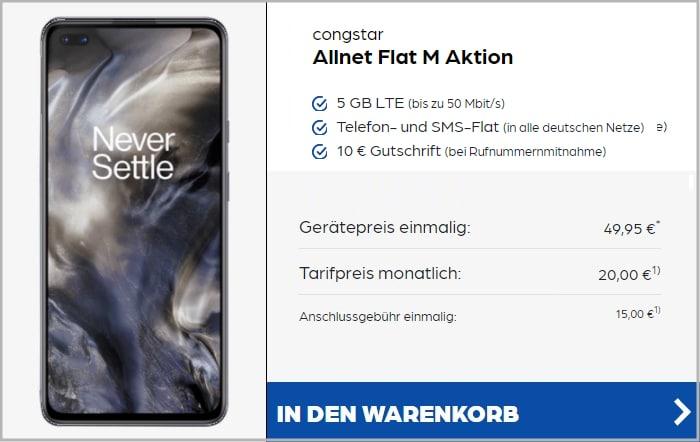 OnePlus Nord (128 GB) + congstar Allnet Flat M bei Preisboerse24