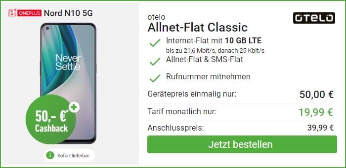 OnePlus Nord N10 5G und 50 € Cashback im otelo Alllnet-Flat Classic bei DeinHandy